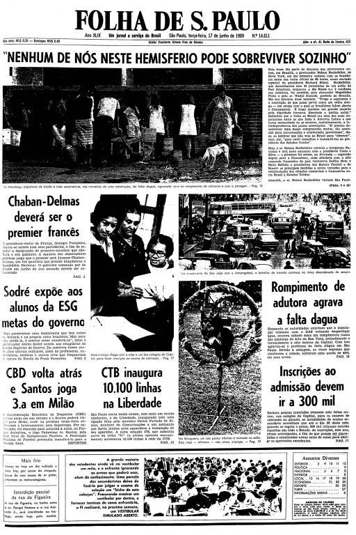 Primeira página da Folha de S.Paulo de 17 de junho de 1969
