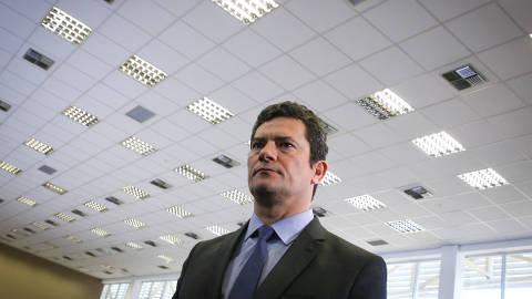 BRASÍLIA, DF, 14.06.2019:  O ministro da Justiça Sérgio Moro durante abertura da Operação Copa América, no Centro Integrado de Comando e Controle Nacional, em Brasília. (Foto: ANDRE COELHO/Folhapress)