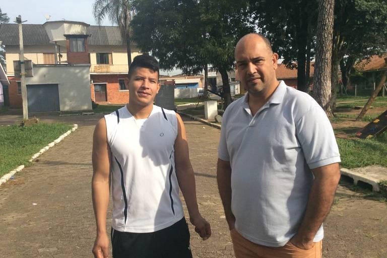 Leonel Gomes, 28, (à esq.) e Jonas Paiva, 41, torcerão para a Venezuela