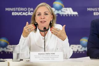 Maria Inês Fini, atual presidente do Inep, durante entrevista sobre o Enem 2018