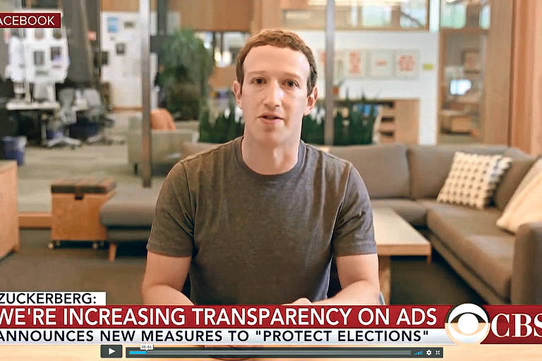 Vídeo criado pelo artista britânico Bill Posters manipula fala de Mark Zuckerberg, do Facebook, usando inteligência artificial