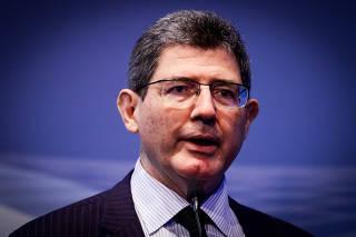 O presidente do BNDES, Joaquim Levy, discursa durante o Brazil Windpower