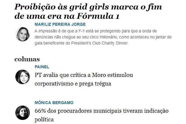 """Newsletter """"Colunas e Blogs"""", da Folha"""