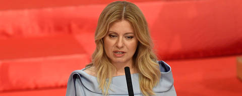 Slovakia's President Zuzana Caputova delivers a speech during her swearing-in ceremony as the country's first female head of state, in Bratislava, Slovakia, June 15, 2019. REUTERS/Radovan Stoklasa ORG XMIT: SLO012