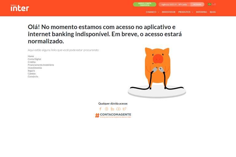 Imagem do internet banking do Banco Inter fora do ar