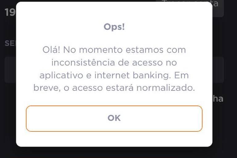 Print screen do app do Banco Inter com falha de acesso