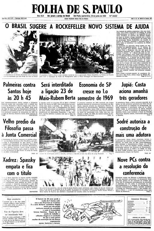 Primeira página da Folha de S.Paulo de 18 de junho de 1969