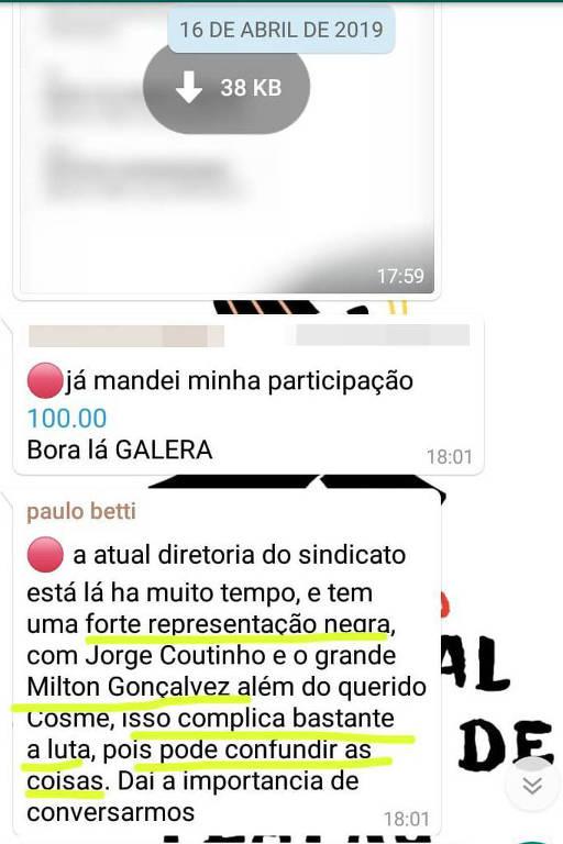 Mensagem de Paulo Betti que motivou a ação judicial de Milton Gonçalves