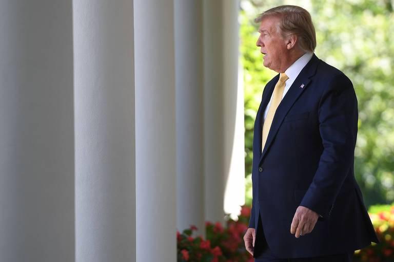 O presidente dos EUA, Donald Trump, no jardim da Casa Branca, em Washington