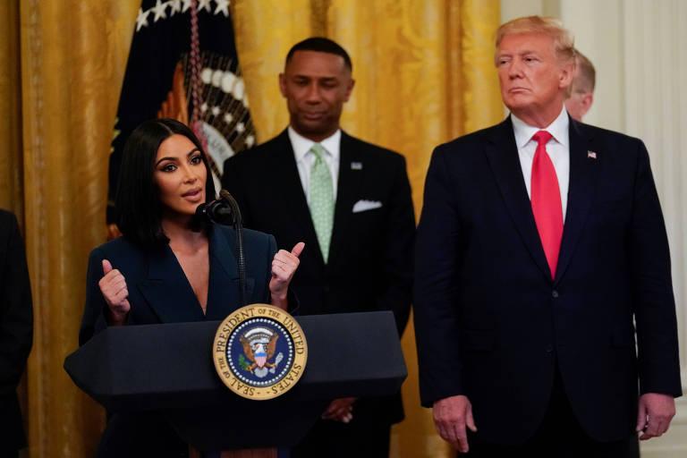 Kim Kardashian foi convidada por Donald Trump, presidente dos EUA a falar sobre reforma prisional