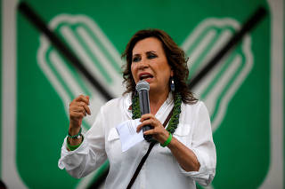 Sandra Torres, presidential candidate for the National Unity of Hope (UNE), addresses supporters during a rally in Coatepeque