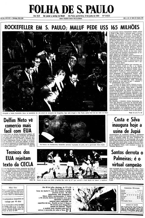 Primeira página da Folha de S.Paulo de 19 de junho de 1969