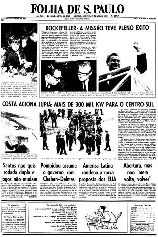 Primeira página da Folha de S.Paulo de 20 de junho de 1969