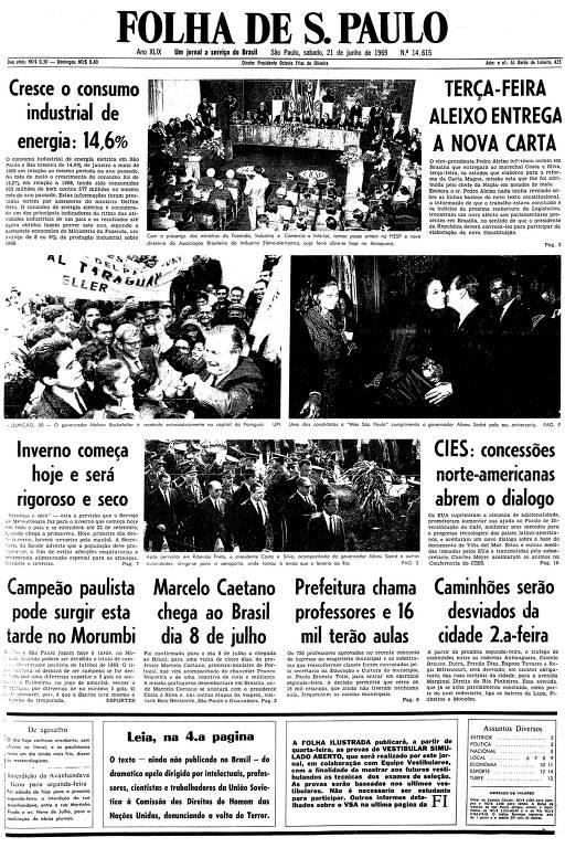 Primeira página da Folha de S.Paulo de 21 de junho de 1969