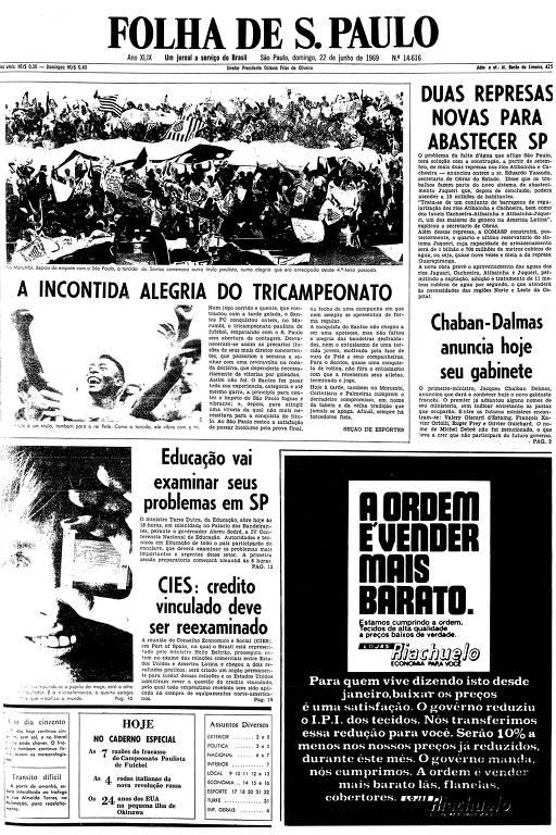 Primeira página da Folha de S.Paulo de 22 de junho de 1969