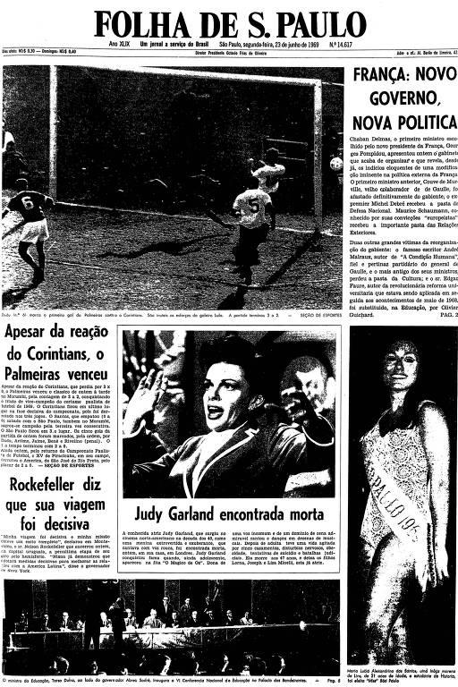 Primeira página da Folha de S.Paulo de 23 de junho de 1969