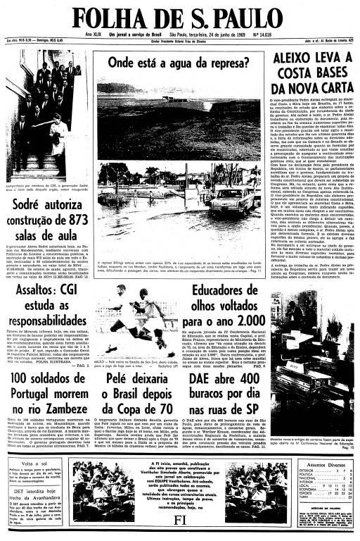 Primeira página da Folha de S.Paulo de 24 de junho de 1969