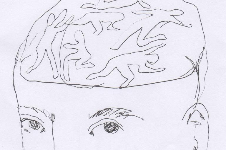 Ilustração em preto e branco de um rosto, com o cérebro aparente. Dentro do cérebro há vários contornos de corpos, nem sempre completos
