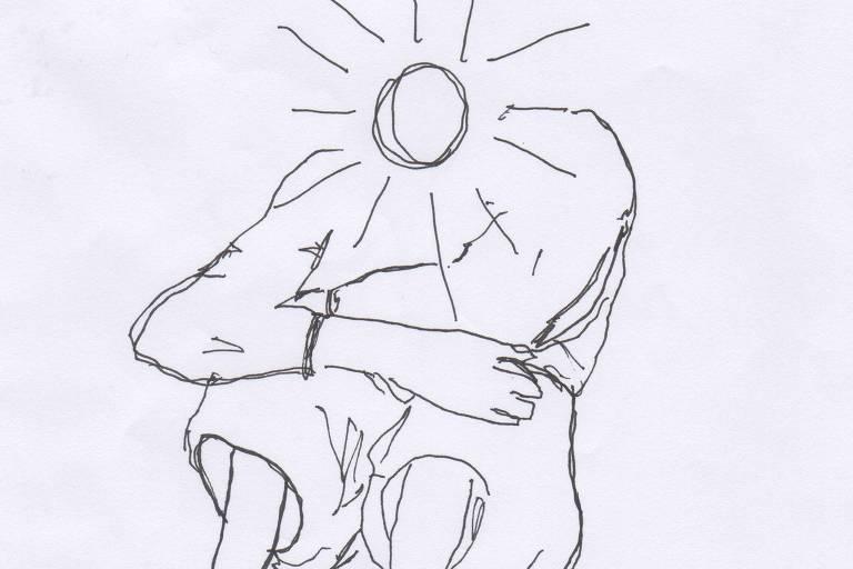 Desenho sem preenchimento de um menino sentado com os braços sobre os joelhos. No lugar da cabeça, há o desenho de um sol.