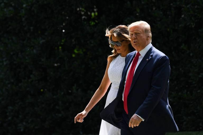 O presidente Donald Trump e a primeira-dama Melania Trump em Washington