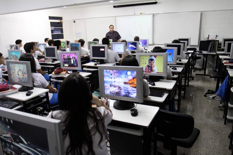 Aula no Instituto Dom Barreto, em Teresina (PI), que teve a melhor nota no Enem 2018