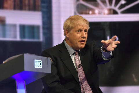 Boris Johnson appears on BBC TV's debate with candidates vying to replace British PM Theresa May, in London, Britain June 18, 2019. Jeff Overs/BBC/Handout via REUTERS ATTENTION EDITORS - THIS IMAGE HAS BEEN SUPPLIED BY A THIRD PARTY. NO RESALES. NO ARCHIVES. NOT FOR USE MORE THAN 21 DAYS AFTER ISSUE. ORG XMIT: BBC30