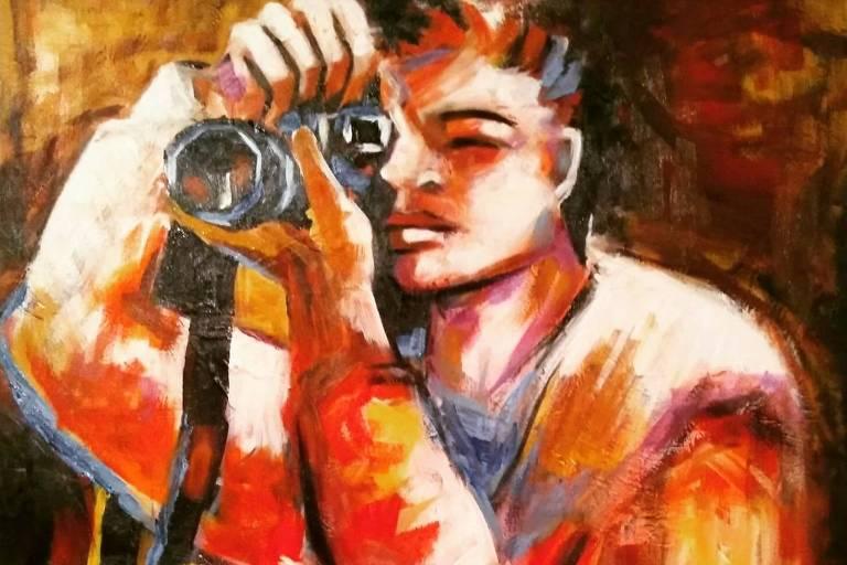 Artista congolês pinta telas ao vivo no Dia do Refugiado