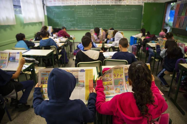 Alunos da Escola Estadual Henrique Dumont Villares