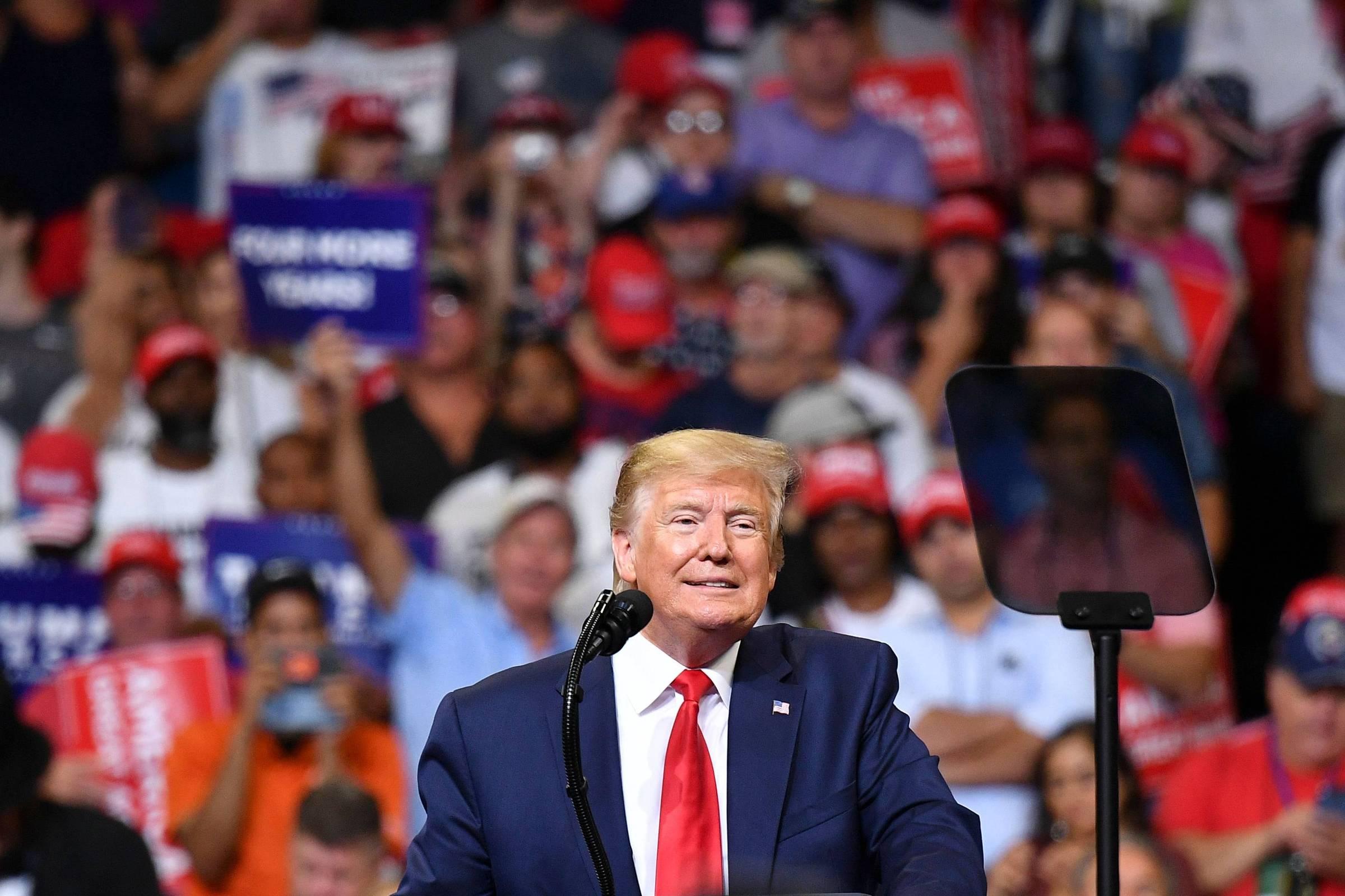 Em 1º evento de campanha à reeleição, Trump revisita temas de 2016