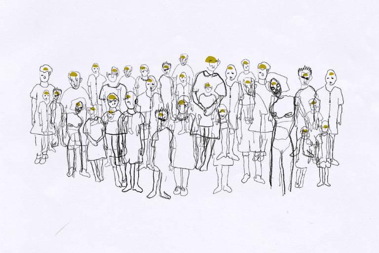 Ilustração em preto e branco de um grupo de jovens. A cabeça desses jovens está demarcada com um tom esverdeado