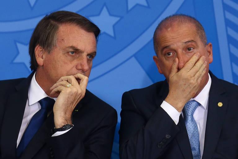 O presidente Jair Bolsonaro e o ministro Onyx Lorenzoni (Casa Civil), no Planalto