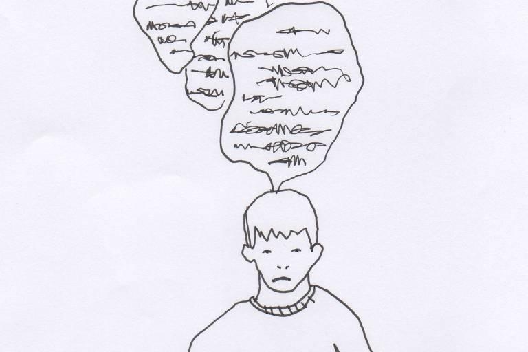 Ilustração em preto e branco feita à mão com caneta preta que mostra adolescente com expressão triste e três balões de conversa acima do personagem, todos com caracteres ininteligíveis