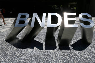 FILE PHOTO: A sign at the main entrance of the Brazilian National Development Bank (BNDES) building is seen in Rio de Janeiro