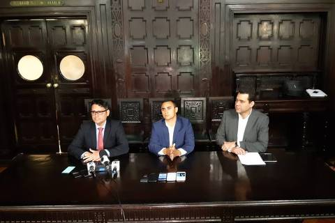 Membros da comissão processante do impeachment de Marcelo Crivella (Luiz Carlos Ramos Filho, William Coelho e Paulo Messina), que isentaram o prefeito de responsabilidade