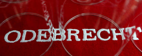 FILE PHOTO: The corporate logo of Odebrecht is seen inside of one of its offices in Mexico City, Mexico May 4, 2017. Picture taken on May 4, 2017. REUTERS/Carlos Jasso/File Photo ORG XMIT: FW1