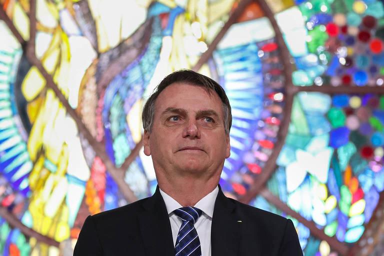 O presidente Jair Bolsonaro durante visita a mosteiro em Guaratinguetá (SP)