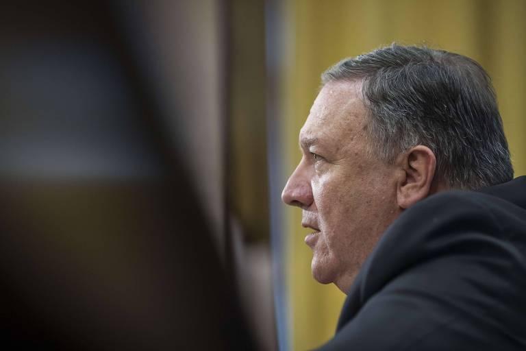 O secretário de Estado dos EUA, Mike Pompeo, durante audiência no Senado, em Washington