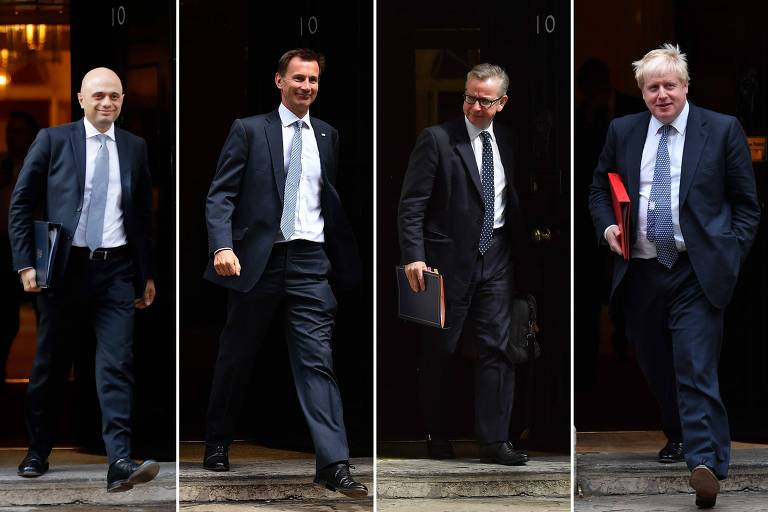 Da esq. para a dir., Sajid Javid, Jeremy Hunt, Michael Gove e Boris Johnson