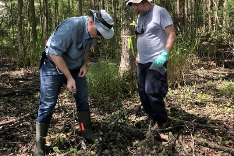 Geólogos coletam amostras de solo para aprender como sua composição muda com as substâncias liberadas pelos cadáveres humanos