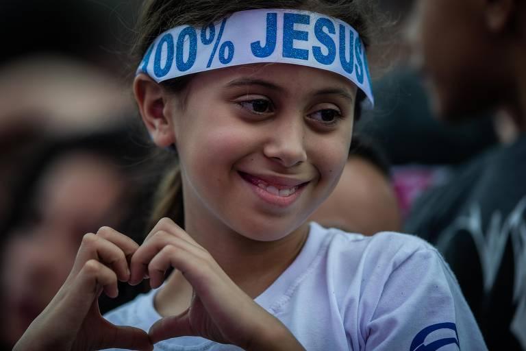 Fiéis na Marcha para Jesus, em São Paulo