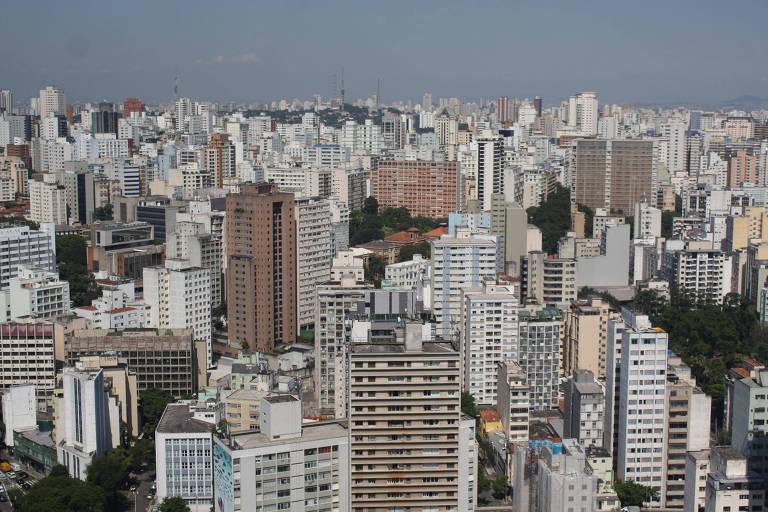 Vista de São Paulo, a partir do edifício Copan, no centro da cidade