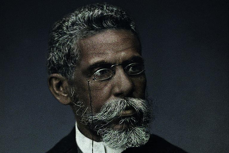 Foto da campanha Machado de Assis Real, com imagem colorizada que representa o autor como negro