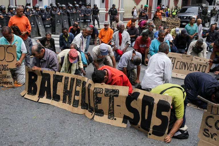 Protestos na Venezuela durante visita de Bachelet