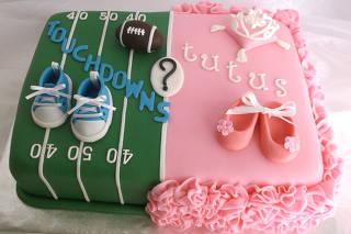 A gender reveal cake.