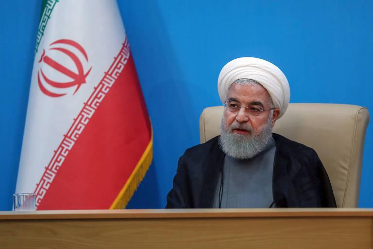 O presidente do Irã, Hassan Rouhani, em seu discurso na TV estatal