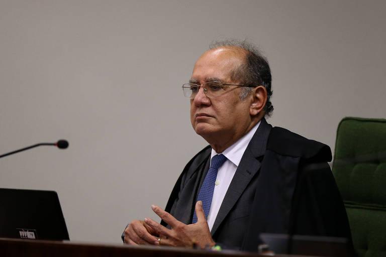 O ministro Gilmar Mendes na sessão que discutiu a possibilidade de soltar Lula