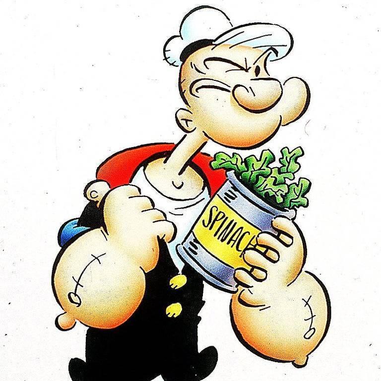 O marinheiro Popeye com lata de espinafre nas mãos