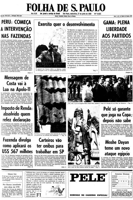 Primeira página da Folha de S.Paulo de 27 de junho de 1969