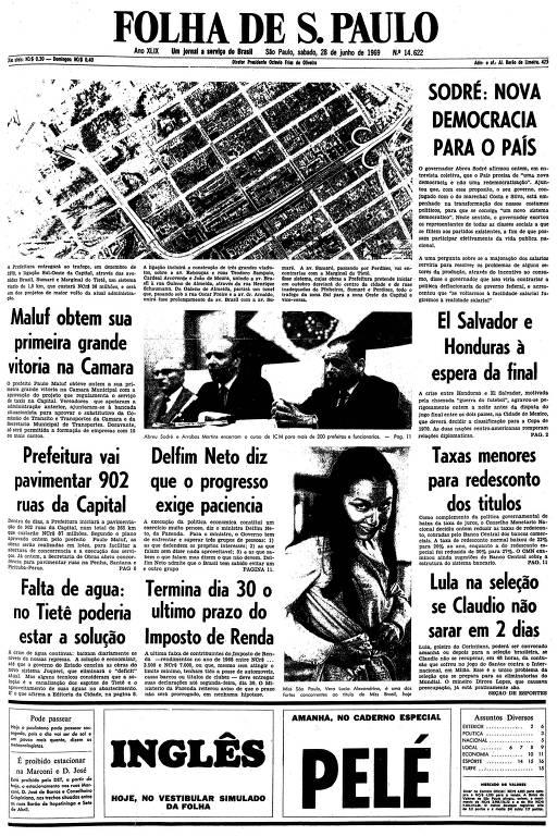Primeira página da Folha de S.Paulo de 28 de junho de 1969