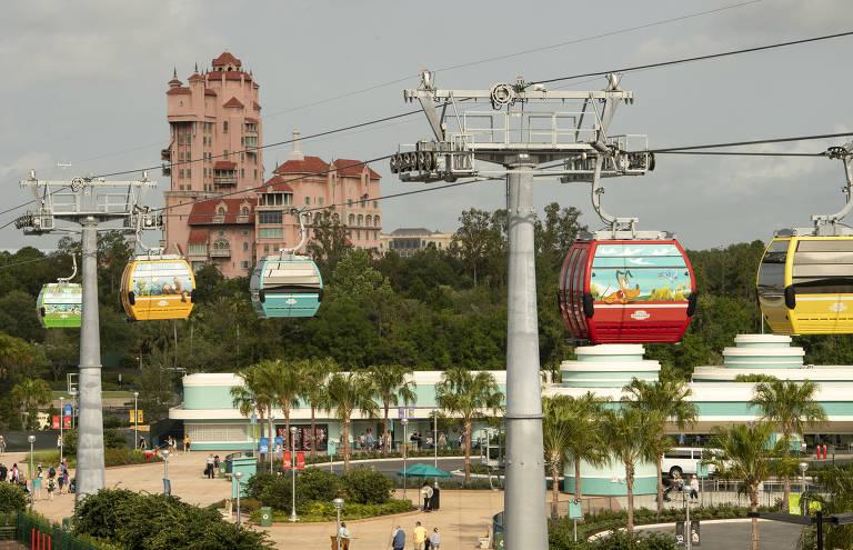 Disney Skyliner, bondinhos que levam as pessoas dos resorts ao redor dos parques para as áreas de brinquedos